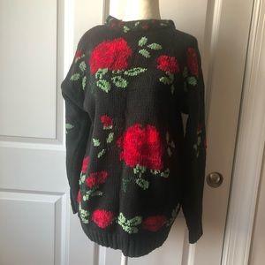 Vintage Rose Knit Sweater